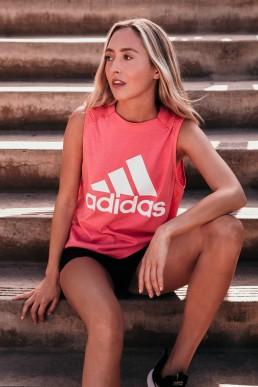 Female Runner in Adidas Outfit at Encinitas California