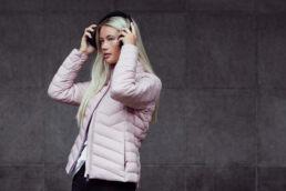 Woman in pink Downjacket