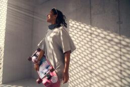 Skate girl in sunlight